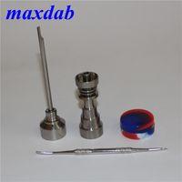 Gr2 титана Domeless ногти 10/14 / 18MM для стекла бом с Carb крышки масляного воска контейнеры 120мм ленты Dabber инструментом
