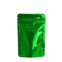100 pz / lotto 8.5 * 13 cm Green Heat Sigillabile Zipper Blocco Zip Stand Up Up Pellicola di alluminio Sacchetto di Pellicola Secco Cibo Secco Bag Mylar Tè Snacks Deposito Borse da imballaggio