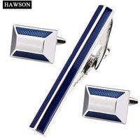 HAWSON 트렌디 한 블루 타이 클립 커프스 단추 남자 에나멜 커프 링크와 타이 클립 세트 패션 구리 금속 타이 핀셋