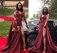 2018 Sexy Burgundy Prom Dress High Slit Sheer Long Sleeves Formal Holidays Wear Graduation Evening Party Gown Custom Made Plus Size