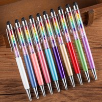 Novetly Rainbow Crystal Rhinestone Bolígrafo con Pantalla Táctil Top Black Ink Ball Pen Regalo de Estudiantes WJ014
