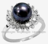 Charming! Natural Black Akoya Cultured pearl ring size 7 8 9