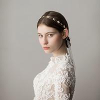 Yeni Gelin Bantları Ile İnciler Çiçekler Zarif Kadın Saç Takı Basit Tasarım Düğün Headpieces Gelin Aksesuarları BW-HP339