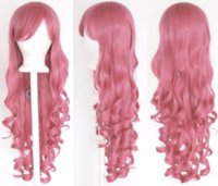 Розовый 80 см Женщины Длинные Вьющиеся Волнистые Волосы Парик Костюм Партии Аниме Косплей
