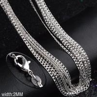 Freies Shipping16--30inch versilbern Halskette 10pcs 2MM Clavicular Kette Halskette 925 stempelte für Frauen und Mannart und weiseschmucksachen