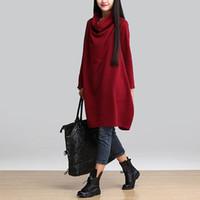 Платье Осенние европейские свободные длинные рукава плюс размер M-4XL женская сплошная цветная рубашка с твердой цветной рубашкой 4 цвета