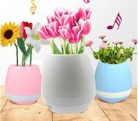 새로운 뜨거운 판매 휴대용 스피커 스마트 터치 피아노 음악 꽃 화분에 심은 블루투스 스피커 다채로운 야간 조명 음악 식물 램프