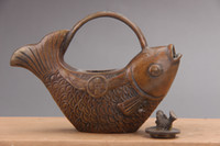Exquisite Chinese Hand Carved fish and Brass Teapot as171