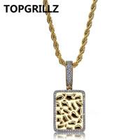 Topgrillz brilhante quadrado pingente de colar de prata cor de ouro de zircão cúbico dos homens encantos presentes da jóia do hip hop com 24 polegada corda cadeia