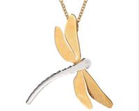 Hohe Qualität Mode Persönlichkeit lange Libelle Halskette Anhänger 316L Edelstahl Gold überzogene weibliche Frauen Partei Schmuck Geschenk
