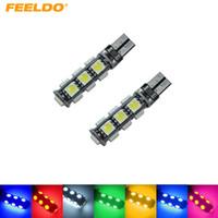 FEELDO 10 PCS Carro T10 194/168 Wedge 13-SMD 5050 Luz LED CANBUS Sem Erro Lâmpada 7-Cor # 3669