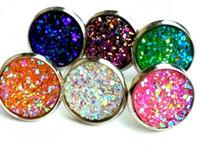 100Pairs / lote Druzy Moda Stud Brincos Conjunto para Mulheres Elegante Cristal Misto Aço Inoxidável Drusy Brincos Jóias 12 Estilos