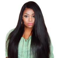 Billige menschliche Haare Perücken 150% Dichte Gerade Spitze Front Perücke Für Schwarze Frauen Prepucked mit Babyhaar Brasilianisch Remy Haar Perücke FZP70