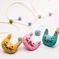 Bebé coreano niñas gato collar de dibujos animados gasa bola niños princesa All-match collar animal suéter cadena niños accesorios C3554