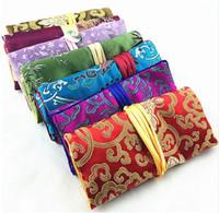 10 sztuk Jade Button Składany Bawełna Wypełniona Torba Portable Silk Brocade Travel Storage 3 Suletki Zamek Pakiety Biżuteria Rolki Kosmetyczne Opakowania