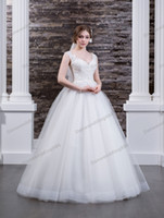 Free Veil Charming White Tulle Applique Beads A- Line Wedding...