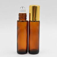 Горячие продавать 10мло 1 / 3oz стекло Roll On бутылка для парфюмерии / Эфирного масла, янтарное стекло ролла на бутылках с металлической Roller Gold Лидой