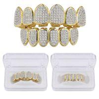 Hip Hop clássico Teeth Grills Golde Cor banhado CZ Micro Pave Exclusivo Superior Inferior Ouro Grillz Set