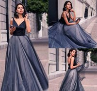Sexy V Neck Evening Dresses Long Tulle Backless Women Formal...