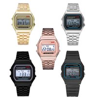 Relojes retro digitales Moda Relojes de pulsera ultra delgada LED Oro Rose-Gold Silver Hombres Mujeres Deporte Relojes Envío Gratis