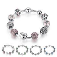 Antiquités Bracelet en argent Bracelet avec amour et fleur Crystal Ball Femmes Wedding Saint Valentin Cadeau Saint Valentin Livraison gratuite