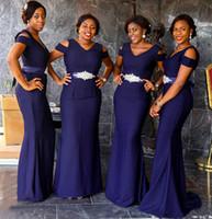 PLUS TAILLE MERMAID Robes de demoiselle d'honneur sur mesure Made V-Col V Pas cher Maid de femme d'honneur Robe d'invité Africaine Nigérian Mariage
