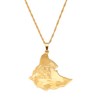 24K Gold Plated Map of Ethiopian Lion Pendant Necklace Afric...