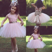 2018 New Arrival Princess Pink Sequin Flower Girls Dresses S...