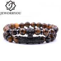 8mm 2 piece set Rock Skull Bracelet Homme Tiger Eye Best Fri...