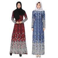 2018 Moda New Abaya Abito Abito Musulmano Donne Islam Stampato marocchino kaftan Abbigliamento Vestiti turchi Turchia Musulmane Abito Dubai abiti