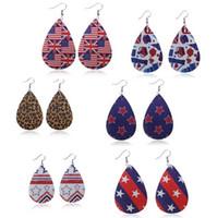 Orecchini in pelle modello - Bandiera USA, Orecchini a goccia a forma di leopardo Orecchini a pendente in pelle PU per donna
