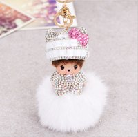 bow monk crystal gold plated knitted hat girl baby key chain...