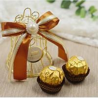 Hierro Golden Bird Jaula Campana Caja de Dulces de Boda Bebé Nacimiento Celebración de Navidad Fiesta Invitados Volver Caja de regalo