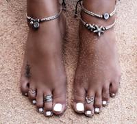 Weinlese-Armband-Fuß-Schmuck-Retro- Fußkettchen für Frauen-Mädchen-Knöchel-Bein-Ketten-Charme-Starfish bördelt Armband-Art- und Weisestrand-Schmucksachen