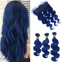 Body Wave Virgin Peruvian Dark Blue Human Hair Bundles with ...