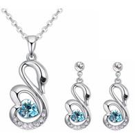 Conjuntos de Jóias de moda de Cristal de Swarovski Coração Pingente de Colar  Brincos Set Para 10dabd9063