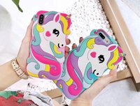 DHL 3D Cute Colorful unicorn horse Cartoon Phone Case for ip...