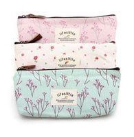 Las mujeres forman bolsas de cosméticos de maquillaje fresco lindo lienzo multifunción floral organizador del bolso de señora Higiene bolsas de viaje