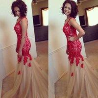 2k15 robes de bal v-cou sans manches sirène appliques dentelle rouge sur Top Champagne Tulle soirée soirée Celebrity Pageant robes