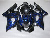 Комплект обтекателя Black Blue Flames для Suzuki GSXR600 GSXR750 2004 2005 K4 GSXR 600 750 04 05 Высококачественные обтекатели набор RF11