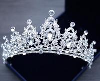 Sınır ötesi gelin şapkaya Beyaz Kristal Taç Prenses Gelin taç düğün aksesuarları