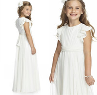 Ivory Chiffon Long Floor Length Flower Girls Dresses For Wed...