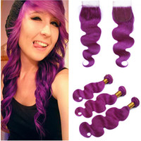 Malaysian Purple Human Hair 3Bundles Body Wave Wavy Weave Ex...