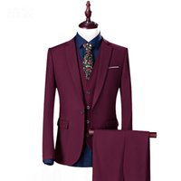 Mens Slim Fit 3 Piece Suit Notch Lapel Groom Formal Business Tuxedos Wedding Men Suit Single Breasted Evening Prom Casual Blazer