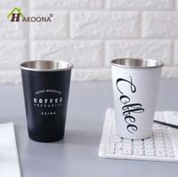 HAKOONA negro blanco Chic tapa taza portátil taza de café tazas de té taza de jugo de acero inoxidable termo