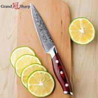 GRANDSHARP Şam Mutfak Bıçağı 5 Inç Maket Bıçağı 67 Katmanlar Japon Şam Paslanmaz Çelik VG-10 Çekirdek Pişirme Araçları YENI