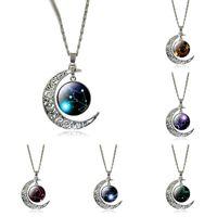 Оптово Новый 12 Двенадцать созвездий ожерелье кулон Лев Blue Moon Stars Лев Символ Jewelry Луны купол зодиак ожерелье