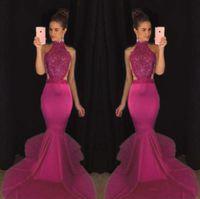 2K 17 Sereia Top Venda Frisado Vestidos de Baile Sexy Backless Cetim Formal Vestidos de Noite High Collar Meninas Pageant Vestido