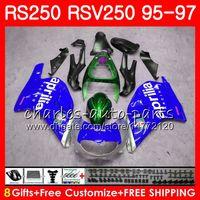Кузов для Априлии РС-250 RSV250 250 рупий 95 96 97 тело 101HM21 RSV250RR RS250R 95 97 РСВ 250 РС РР 250 1995 1996 1997 Зализа синий серебристый