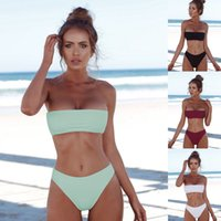 Womens 2pcs Bikini Set Swimsuit Push- up Bandeau Top Bathing ...